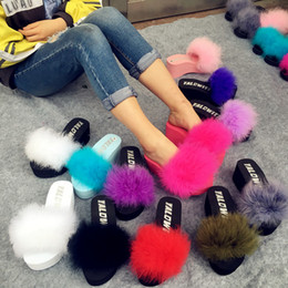 Wholesale hair adhesives - Fur Furry Slide Sweet Ostrich Feather Thick Bottom Beach Female Sandals Hair Flip Flops Women Home Slippers Fenty playform Soft