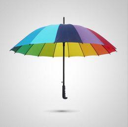 Wholesale Umbrella Men - Rainbow Umbrella Long Handle 16K Straight Windproof Colorful Pongee Umbrella Women Men Sunny Rainy Umbrella OOA2317
