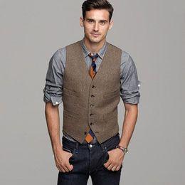 Wholesale Color Plus Formal Man Dress - 2017 Brown Wool Herringbone Tweed Vest Mens Suit Vests Slim Fit Groom Vests Vintage Wedding Vest Unique Mens Dress Vest Waistcoat Plus Size