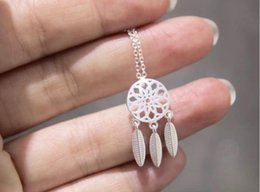 Wholesale Brush Chain - Wholesale-925 Silver Jewelry Ethnic Brushed Tassel Dreamcatcher With Feathers Pendant Necklace for Women Gift Bijoux Femme