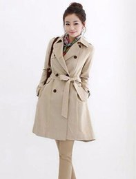 Wholesale Trench Coat Women Fall - Women fall and winter in Europe and the fashion trend in han edition of the new big yards double-breasted trench coat   S-5xl