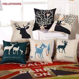 Wholesale Deer Case - BZ059 Luxury Cushion Cover Pillow Case Home Textiles supplies Lumbar Pillow Deer head decorative throw pillows chair seat