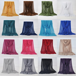 Wholesale Scarves Shimmer - 20 Colors Mix Lot High Quality Shimmer Sparkle Gold Glitters Plain Muslim Hijab Scarf Shawl Head Wrap