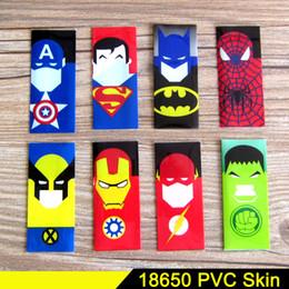 Wholesale Tubing Wholesalers - 11Style Superman Batman Captain America 18650 battery PVC skin Sticker 70mm Heat Shrinkable Tubing Wrap VTC5 VTC4 LG HG2 Cover Sleeve