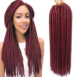 Wholesale Hair Extensions Strand - 18inch Synthetic Crochet Braids Hard Faux Locs Hair Extensions 24 strands pack