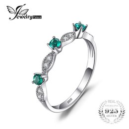 Wholesale Created Emerald Jewelry - JewelryPalace 3 stones Round Created Emerald Engagement Wedding Rings For Women Genuine 925 Sterling Silver Fashion Fine Jewelry