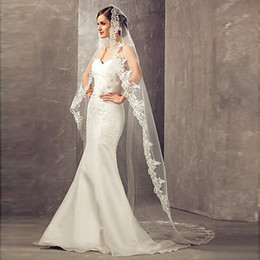Wholesale Cathedral Veil Without Comb - Wedding Veil Lace Cathedral wedding accessories White Ivory 3 M Cheap Long Voile Marriage Bridal Veil Without Comb cpa859