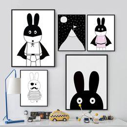 moderne große blumenmalereien Rabatt Schwarz und Weiß Poster und Drucke Cartoon Nordic Poster Tiere Häschen für Kinder Zimmer Leinwand Wandbild Kunst Malerei Geschenke Ungerahmt
