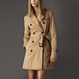 Wholesale Double Breasted Women Windbreaker - European Style 2016 Autumn Trench coat casaco feminino British Plus Size Long Double breasted Slim Windbreaker Outerwear Coats