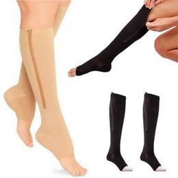 Wholesale Women S Socks Spandex - Wholesale- New Arrival Zipper Compression Zip Leg Support Knee Stockings Sox Open Toe S M  L XL