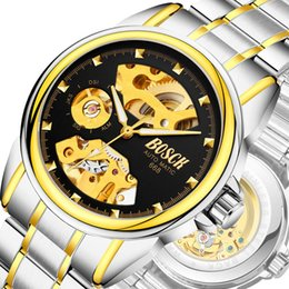 Wholesale Men S Watch Fashion Steel - Automatic mechanical watch business hollow men 's watches waterproof mechanical gifts watches 1 shipment free shipping