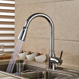 Wholesale Tall Sink Faucets - LED Kitchen Faucet Tall ­High Arc Deck Mounted Faucet with Ceramic Valve 1 Handle 1 Hole Hot and Cold for Kitchen Sink