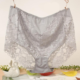 Wholesale X Large Women Sexy - 5XL Size Sexy Lace Embroidery High-Waist Panties Large Size Briefs Women Underwear XL Size Undies X-Large Underpants Hiphuggers for Female