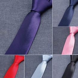 Wholesale Custom Yarn - Narrow version NeckTie Men's Tie custom-made 50 Colors 145*5cm NeckTie Leisure Arrow Necktie Skinny Solid Color Tie Free FedEx