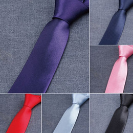 Wholesale Custom Skinny Ties - Narrow version NeckTie Men's Tie custom-made 50 Colors 145*5cm NeckTie Leisure Arrow Necktie Skinny Solid Color Tie Free FedEx