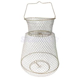 großhandel stahlfallen Rabatt Großhandel faltbare metall stahldraht fisch hummer mesh fischernetz garnele krabben käfigfalle net