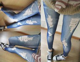 Wholesale Pants Cotton Women Jeans - Wholesale- Hotwomen denim tight slim pencil pants ripped jeans legging render pants leggings