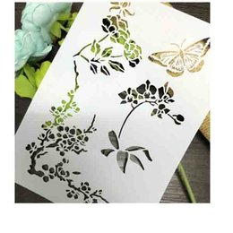 Wholesale Mask Painting Butterfly - Wholesale- Plum Butterfly Scrapbooking tool card DIY album masking spray painted template drawing stencils laser cut template KW610906