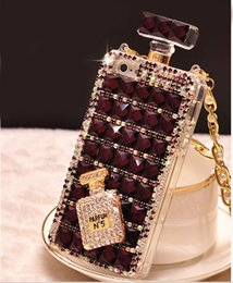 Wholesale Iphone Case Cover Perfume - 085 Handmade Bling Rhinestone 3D Long Chain Perfume Bottle Purple Phone Protect Back Cover Cellphone Case For iPhone 5 5s 6 6 Plus 7 7 Plus