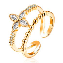 Anelli di barretta di modo per le ragazze online-Anelli regolabili per le donne Ragazze Pave impostazione Cubic Zirconia moda nuziale nuziale fidanzamento fiore polsino anello gioielli all'ingrosso