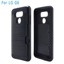 Wholesale Shockproof V5 - For Samsung J2 Prime LG G6 K7 K10 V1 V5 V20 Armor Hybrid Case Brushed Dual Layered Shockproof Cover Credit card card slot