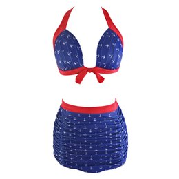 Wholesale Plus Size Bandage Swim - High Waist Two Piece Swimsuit Women 2017 New Swimwear Bandage Push Up Bikini Set Retro Plus Size Beachwear Sexy Halter Swim Suit QP0228