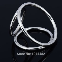 Wholesale Male Chastity Three Ring - Stainless Steel Male Chastity Device Cock Penis Ring Cockrings Restraints Three Rings Bondage Gear For Men