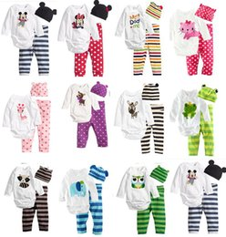 Wholesale Three Piece Set Romper - Wholesale-11colors retail 2017 New cotton children child baby boys girls clothes three-piece Long - sleeved Romper +hat +pants clothing sets