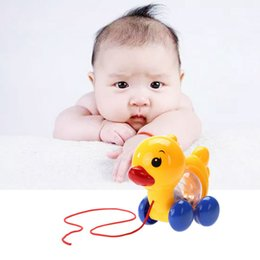 Wholesale Learning Walking Toys - Wholesale- 1 Pc Cute Unisex Baby Toys Toddler Kids Learn Walk Toy Fun Pull Along Small Duck With Rattles Toy Baby Gifts Random Color