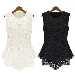 Wholesale Top Sexy Doll - Wholesale-Sexy Doll Solid Ladies Women Top Lace Chiffon Black&White Sleeveless Slim Shirt