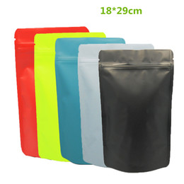 Wholesale Powder Stand - 100Pcs 18*29cm Colored Matte Pure Aluminum Foil Stand Up Zip Lock Bag Doypack Metallic Mylar Valve Bag Coffee Powder Packaging Zip Bags