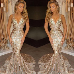 Wholesale gold occasion dresses - 2017 New Luxury Gold Prom Dresses Mermaid V Neck Sexy African Prom Gowns Vestidos Special Occasion Dresses Evening Wear