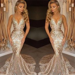 Wholesale Sexy Sky - 2017 New Luxury Gold Prom Dresses Mermaid V Neck Sexy African Prom Gowns Vestidos Special Occasion Dresses Evening Wear