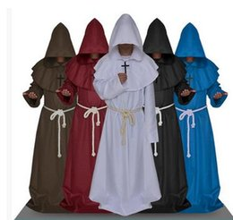 Wholesale Men Wholsale - wholsale Medieval Friar Costume Vintage Renaissance Priest Monk Cowl Robes Cosplay Outfits with Cross Necklace for Adult Men Gifts