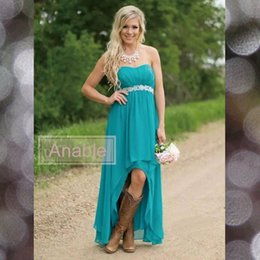 Wholesale Teal Sash Dress - 2017 Modest Country Bridesmaid Dresses Teal Turquoise Chiffon Sweetheart Hi Lo Beaded With Belt Party Wedding Guest Dress