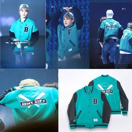 Wholesale Kpop Jacket - Wholesale- ALLKPOPER Kpop BTS Baseball Uniform Coat FM ARMY.ZIP+ Varsity Jacket Bangtan Boys JUNG KOOK V
