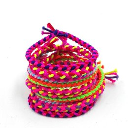 Wholesale Braided Leather Hair Band - 100 Korean version of the wild candy color hair circle colorful color elastic stretch rubber bandch braid hair ring hair accessories
