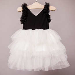 Wholesale Sexy Child Clothing - Botique Girls clothes dresses tutu Flowers Sexy black V neck dresses 2017 Summer Ball Gown party dress Girl Children clothing 2-7year