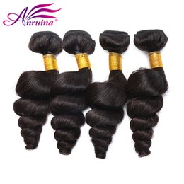 Wholesale Cheap Real Hair Extensions - Cheap Unprocessed Peruvian Loose Wave Hair Extension 3 Bundles With Lace Closure Original Peruvian Remy Human Hair Weave Real Peruvian Hair