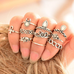 Wholesale ethnic silver rings - Bohemian 10PC Set Women Punk Vintage Knuckle Rings Tribal Ethnic Hippie Stone Joint Ring Jewelry Set Gift