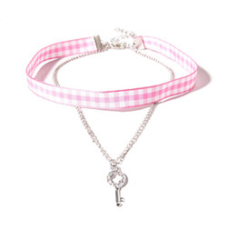 Wholesale Girls Key Necklace - Pink Grid Ribbon Cloth Choker With Rhinestone Key Pendant Short Necklace Pretty Choker Necklace For Girls