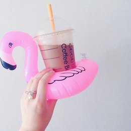 Wholesale Inflatable Pool Toys Wholesale - Inflatable Flamingo Drinks Cup Holder Pool Floats Bar Coasters Floatation PVC Devices Children kids Bath Toy DHL Free Shipping