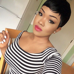 Wholesale European Shorts - Wigs for black women Pixie cut short human hair wigs for black women bob full lace front wigs with baby hair for Africans