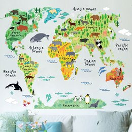 Wholesale Map Wall Art Diy - colorful animal world map wall stickers for kids rooms living room home decorations pvc decal mural art diy office wall art