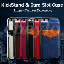 Wholesale Business Card Cases Wallets - Fashion Luxury Multifunction Business Case PU & Leather Cover Pouch Credit Card Slot Kickstand For iPhone 6 7 Plus Samsung Galaxy S7 S6 Edge