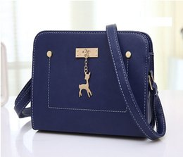 Wholesale Material Cross Body Bags - Wholesale- Women messenger bags Small size PU material women shoulder bags Multi-color to choose with Deer pendants