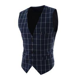 Wholesale Business Casual Hombre - Wholesale- 2016 Slim Fit Mens Waistcoat New Casual Suit Vest Men Plaid Style Men Chalecos Hombre Business Dress Vest Sleeveless Gilet MQ1