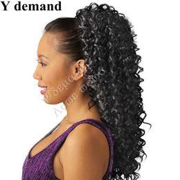 Garras de cabelo elegante on-line-Extensões de Acessórios de Cabelo da moda Elegante Gripper Encaracolado Rabo de Cavalo Pedaços de Cabelo Preto Longo Falso Rabo De Cavalo Garra Falso Cabelo Y demanda