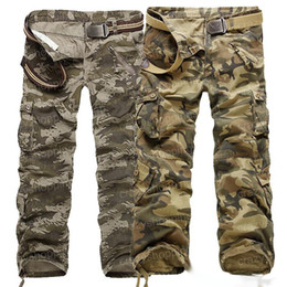 Wholesale Mens Camouflage Combat Trousers - 2017 Men Cargo CAMO COMBAT pants mens hot sale overalls camouflage trousers high quality straight clothing size 28-40