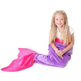 Wholesale Handmade Flannel - Mermaid Tail Blanket Kids Children Sleeping Bags Shark Mermaid Blankets Costumes Soft Handmade Flannel Sleeping Bag Shark Snuggle-in Cocoon